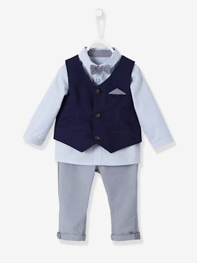 Vertbaudet Collection-Baby-Baby Boys' Cardigan, Shirt, Bowtie & Trousers Outfit Set
