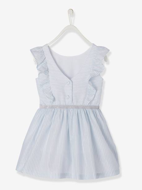 Dress with Frills & Iridescent Stripes, for Girls WHITE LIGHT STRIPED - vertbaudet enfant
