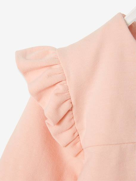 Bodysuit Top with Frills on the Shoulders for Babies PINK LIGHT SOLID WITH DESIGN - vertbaudet enfant