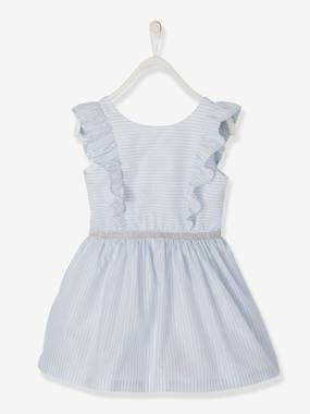 Vertbaudet Collection-Dress with Frills & Iridescent Stripes, for Girls