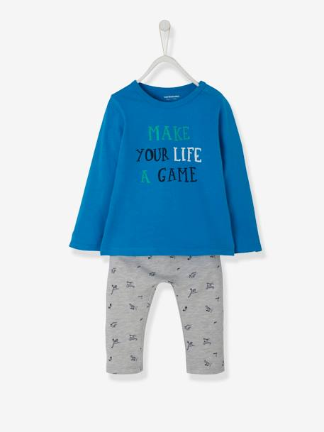 Baby Boys' Top + Trouser Outfit, Pirate Cat Motif BLUE MEDIUM SOLID WITH DESIGN+WHITE MEDIUM SOLID WITH DESIGN - vertbaudet enfant