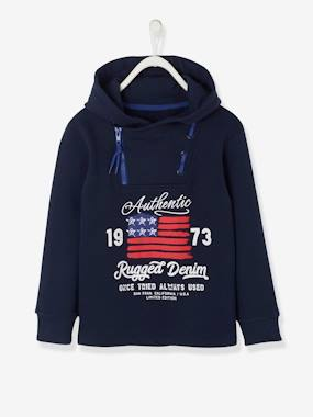 Summer collection-Boys-Cardigans, Jumpers & Sweatshirts-Hooded Sweatshirt with Fancy Zip Opening for Boys