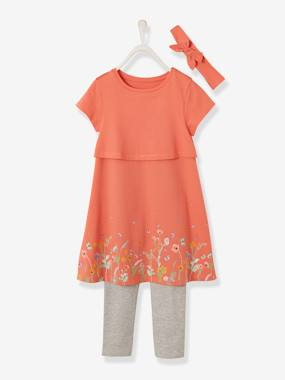 Mid season sale-3-Piece Ensemble for Girls, Dress + Leggings + Matching Headband
