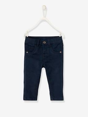 Baby-Trousers & Jeans-Slim Leg Trousers in Stretch Cotton for Baby Boys