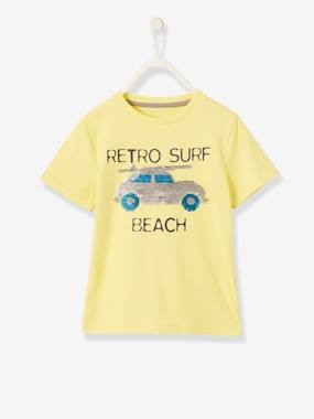 Vertbaudet Collection-Boys-Fun T-Shirt with Reversible Sequins for Boys