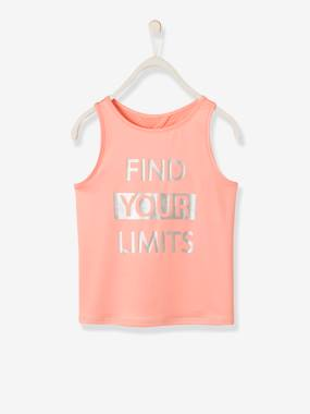 Girls-Sportswear-Sports Top with Iridescent Inscription, for Girls