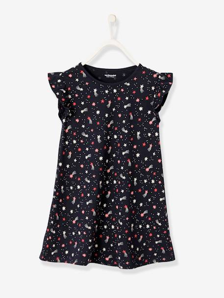 Girls' Nightie BLUE DARK SOLID WITH DESIGN - vertbaudet enfant