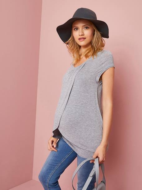 Nursing T-Shirt with Crossover Panels BLACK DARK SOLID+GREY LIGHT MIXED COLOR - vertbaudet enfant