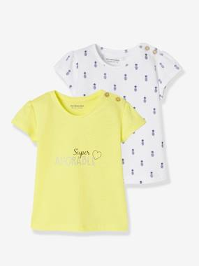 Baby-T-shirts & Roll Neck T-Shirts-T-shirts-Pack of 2 Short-Sleeved T-Shirts for Baby Girls