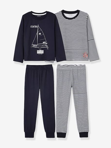 Pack of 2 Mix & Match Pyjamas for Boys BLUE DARK SOLID WITH DESIGN - vertbaudet enfant