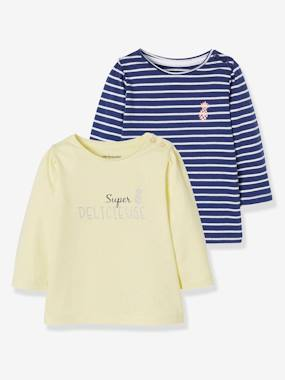 haut-Pack of 2 Long-Sleeved Tops for Baby Girls