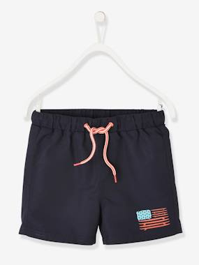 Swimwear-Swim Shorts with Flag for Boys