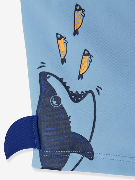 Swim Shorts with Fun Shark, for Boys BLUE MEDIUM SOLID WITH DESIGN - vertbaudet enfant