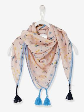 Girls-Accessories-Scarf with Tassels, Bucolic Motif, for Girls