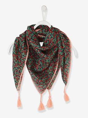 Girls-Accessories-Scarf with Tassels & Flower Print for Girls