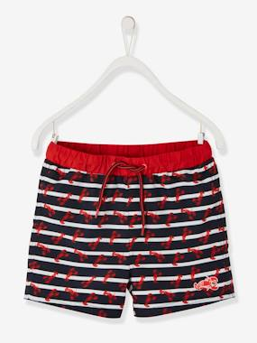 Swimwear-Striped Swim Shorts, with Lobsters, for Boys