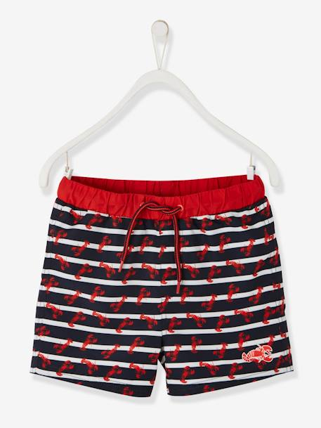 Striped Swim Shorts, with Lobsters, for Boys BLUE DARK STRIPED - vertbaudet enfant