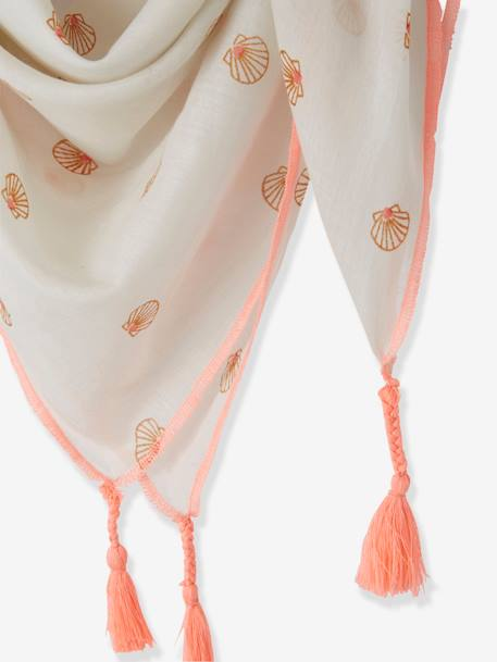 Scarf with Tassels & Shells for Girls WHITE LIGHT ALL OVER PRINTED - vertbaudet enfant