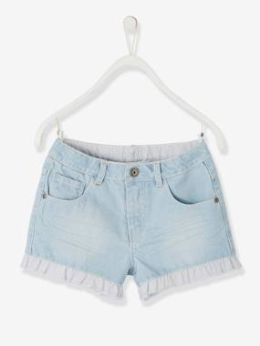 Girls-Shorts-Denim Shorts with Stylish Frills, for Girls