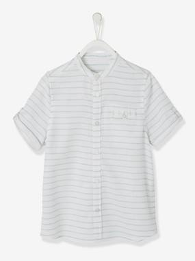 Boys-Shirts-Striped, Short-Sleeved Mandarin Collar Shirt for Boys