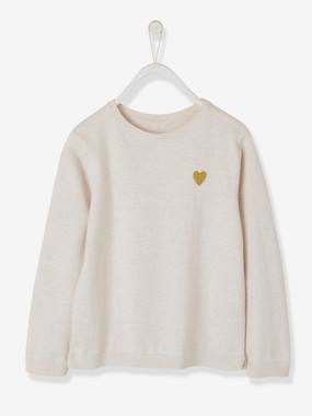 Fille-Pull, gilet, sweat-Pull-Pull fille broderie coeur brillant
