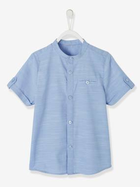 Vertbaudet Collection-Boys-Short-Sleeved Mandarin Collar Shirt for Boys