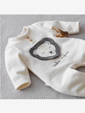 Baby-Pyjamas-Fleece Sleepsuit for Newborn Babies, Lion Motif in Relief