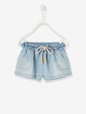 Baby-Dresses & Skirts-Skort in Brushed Denim for Baby Girls