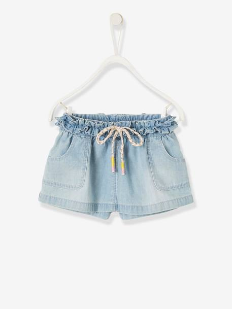 Skort in Brushed Denim for Baby Girls BLUE LIGHT WASCHED - vertbaudet enfant