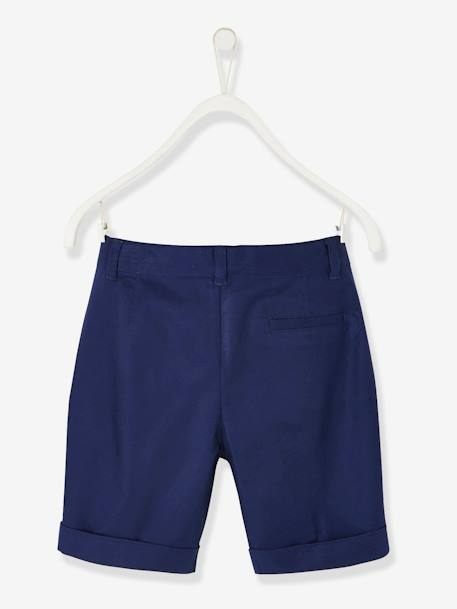 Bermuda Shorts in Cotton/Linen, for Boys BEIGE MEDIUM SOLID+BLUE DARK SOLID - vertbaudet enfant