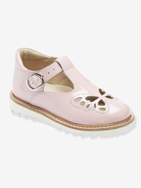 Vertbaudet Collection-Shoes-Patent Leather T-Strap Sandals for Girls, Designed for Autonomy