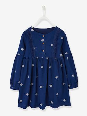 Vertbaudet Sale-Girls-Dress with Embroidered Ethnic Motif for Girls