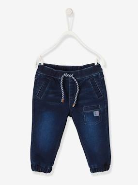 Baby-Trousers & Jeans-Denim-effect Trousers in Fleece, Elasticated Trim, for Baby Boys