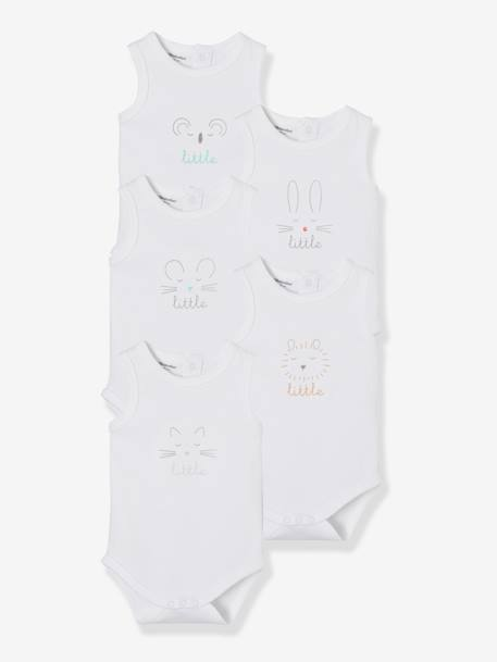 Babies' Pack of 5 Printed Sleeveless Bodysuits WHITE LIGHT SOLID WITH DESIGN - vertbaudet enfant