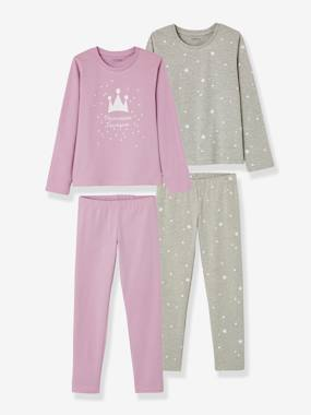Vertbaudet Sale-Girls-Pack of 2 Mix & Match Pyjamas for Girls