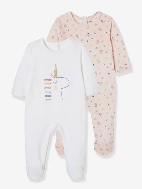 Pack of 2 Velour Sleepsuits for Babies, Press Studs on the Back WHITE LIGHT TWO COLOR/MULTICOL - vertbaudet enfant