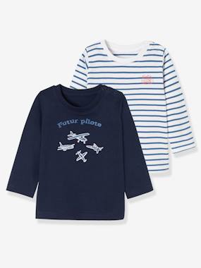 Baby-T-shirts & Roll Neck T-Shirts-T-shirts-Baby Boys' Pack of 2 Tops with Graphic Pattern Motif and Wording