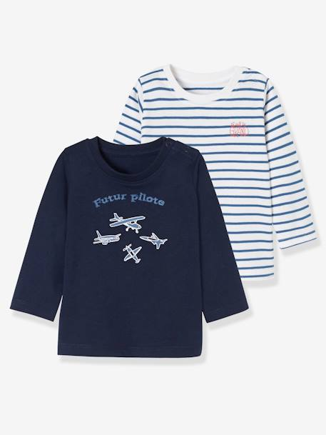 df35462d6 Baby Boys  Pack of 2 Tops with Graphic Pattern Motif and Wording ...