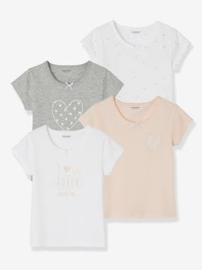 Vertbaudet Basics-Fille-Lot de 4 T-shirts fille manches courtes