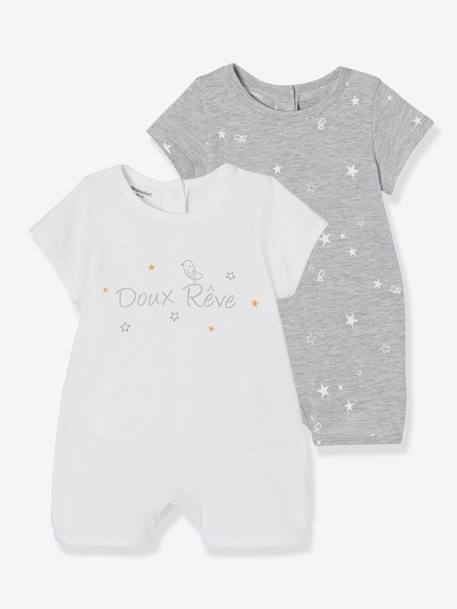 Pack of 2 Sets of Baby Cotton Pyjamas, with Press-Studs on the Back WHITE LIGHT TWO COLOR/MULTICOL - vertbaudet enfant