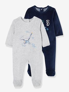 Vertbaudet Collection-Baby-Pyjamas-Pack of 2 Velour Sleepsuits for Babies, Press Studs on the Back