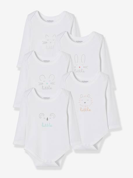 Baby Pack of 5 Long-Sleeved Printed Bodysuits WHITE LIGHT SOLID WITH DESIGN - vertbaudet enfant