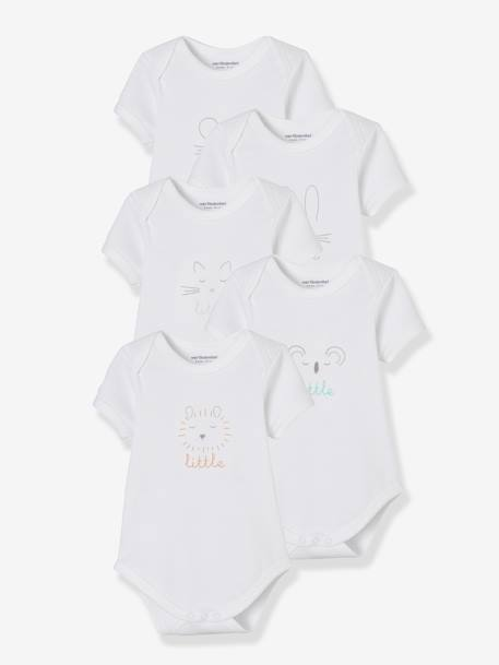 Baby Pack of 5 Pure Cotton Bodysuits with Graphic Print, Short Sleeves WHITE LIGHT SOLID WITH DESIGN - vertbaudet enfant