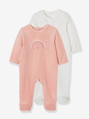 Vertbaudet Collection-Baby-Pack of 2 Velour Sleepsuits for Babies