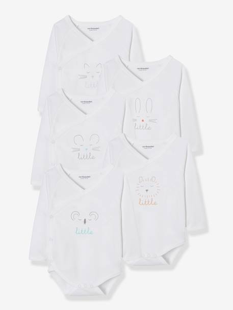 Newborn Baby Pack of 5 Long-Sleeved Bodysuits with Graphic Print WHITE LIGHT SOLID WITH DESIGN - vertbaudet enfant