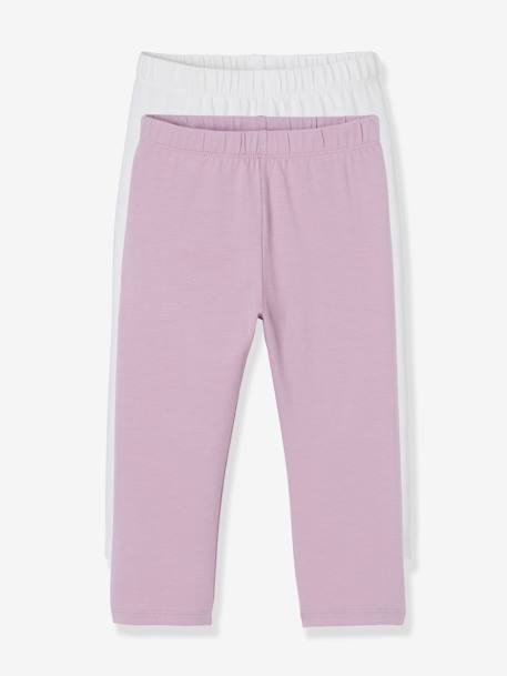 Lot de 2 leggings fille mi-mollets LOT DE 2 : 1 CORAIL + 1 JAUNE+LOT DE 2 : 1 FUCHSIA + 1 ROSE+LOT DE 2 : 1 GRIS CHINE + 1 NO+LOT DE 2 : 1 MAUVE + 1 BLANC - vertbaudet enfant
