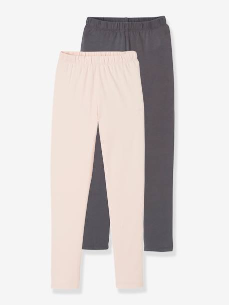 Lot de 2 leggings assortis fille Gris chiné+noir+LOT DE 2 : 1 FUCHSIA + 1 MARIN+LOT ROSE PALE + GRIS FONCE - vertbaudet enfant