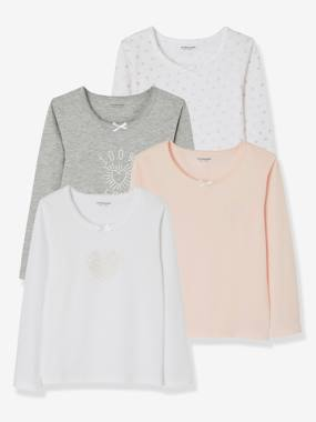 Vertbaudet Basics-Girls-Pack of 4 Long-Sleeved T-Shirts for Girls