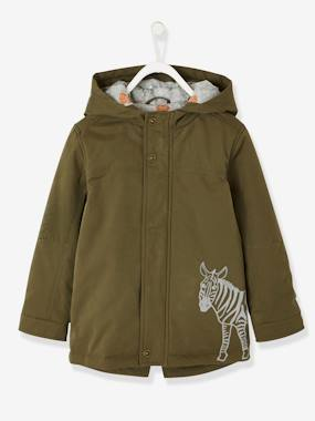 Boys-Coats & Jackets-Hooded Parka with Zebra Print for Boys