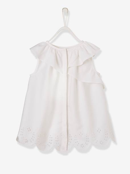 Dress with Asymmetric Ruffle & Broderie Anglaise WHITE LIGHT SOLID - vertbaudet enfant